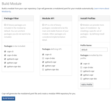 Just select packages that should be part of the module